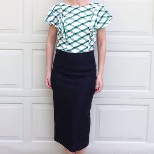 nwt ZARA WOMAN black lace high waisted skirt S M